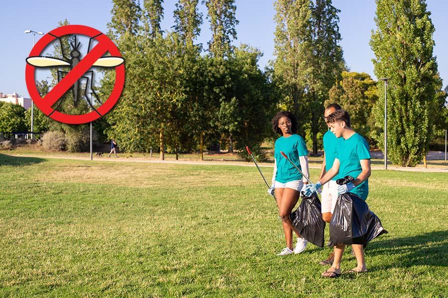 Grupo de pessoas limpando um parque. No canto superior, uma figura de um mosquito da dengue com um círculo vermelho cortado para simbolizar o combate ao mosquito Aedes aegypti